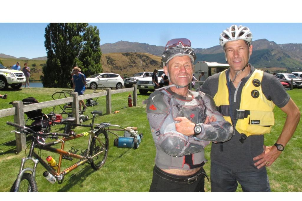 Endurance star Steve Gurney and Queenstown vet Geoff Woodhouse with their ''eco-friendly'' ride on mower.
