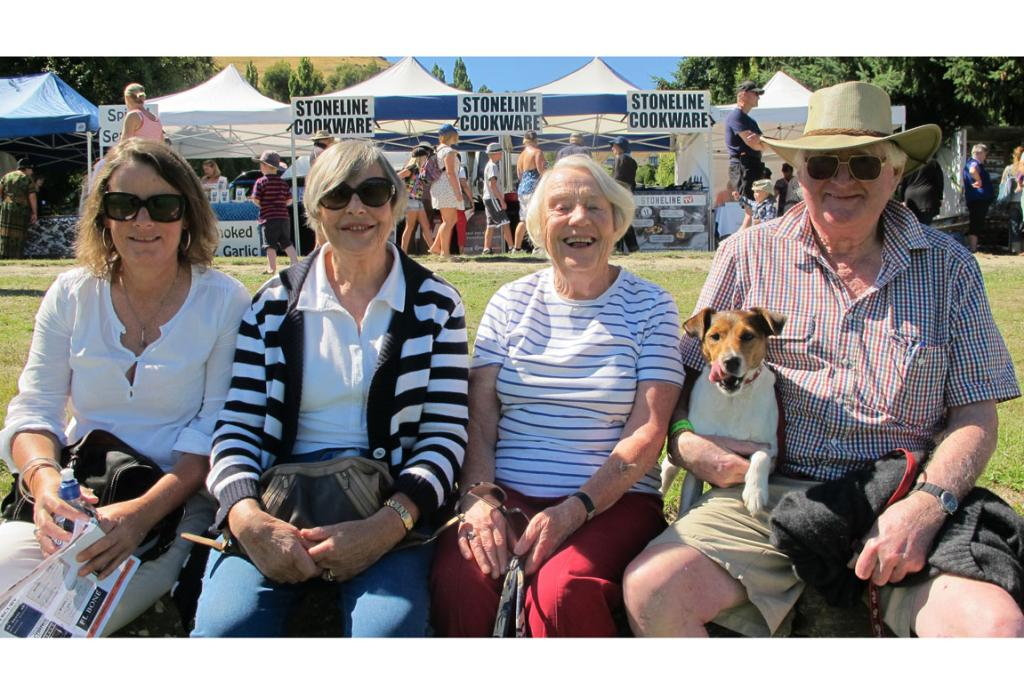 Pictured, from left, Bridget McCaughan, Sheila McCaughan, Marge Goodger and Stan Jones enjoy the horse events at the Lake Hayes A & P Show with their dog, Henry.