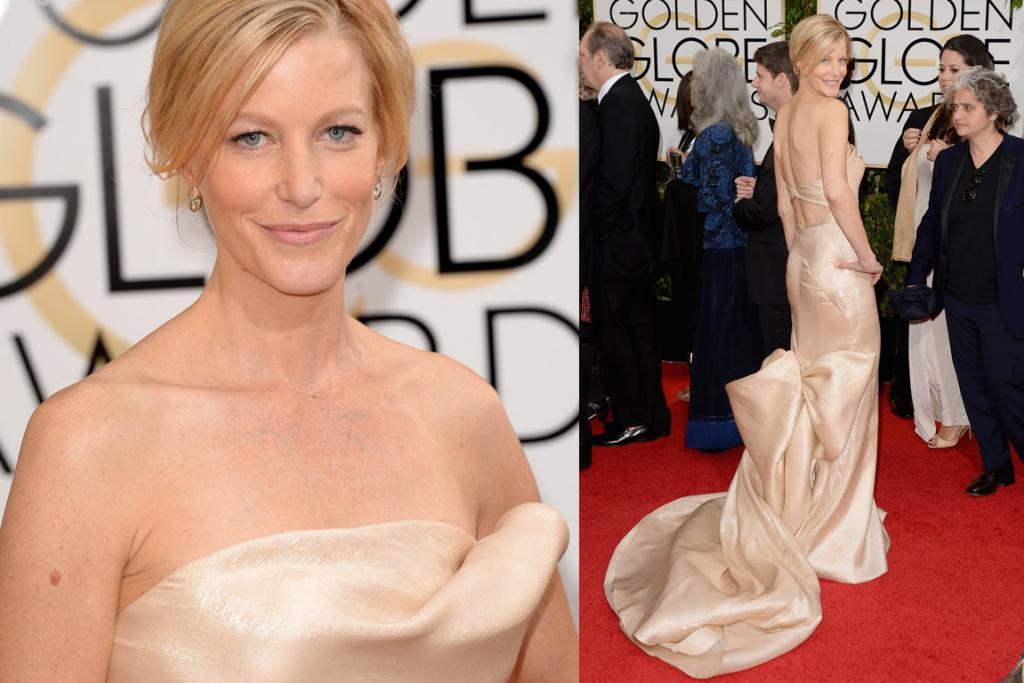 THE GOOD: That colour - even though it basically matches her skin - works well on Anna Gunn, and while I'm usually not a fan of dresses that vomit out along the red carpet, Donna Karen knows what she's doing. Ooh, that shiny material does give me a bit of a flammable issue panic attack though.