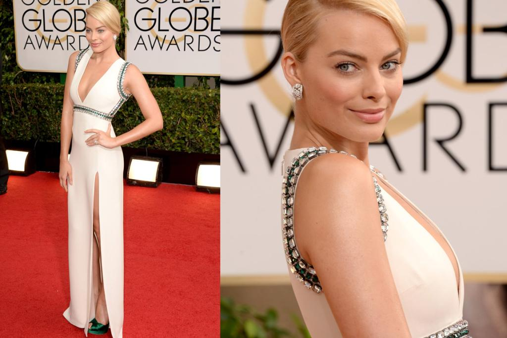 THE GOOD: I'm not jumping up and down over this Gucci on Margot Robbie, but it's a big improvement from her Wolf of Wall Street red carpet run. I love the green detailing, I am, however, a little stressed out about that split.