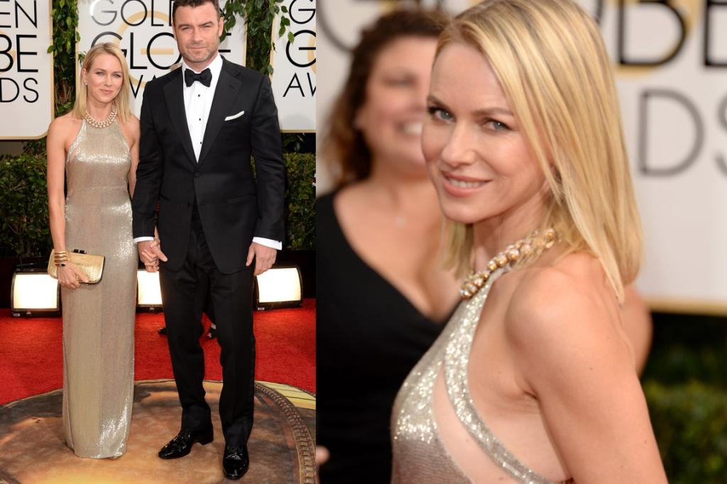 THE GREAT: Naomi Watts won the Oscars in a metallic gown, and she's a contender for winning the GGs in this sleek Tom Ford. Hubby Liev is looking sharp too.