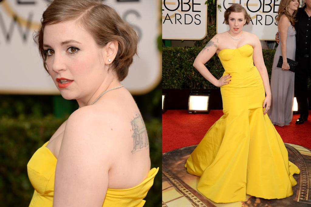 THE MOST IMPROVED: This is likely to be a controversial one, but I dig this Zac Posen gown on Lena Dunham: it's far less ageing than her navy choice at last year's GGs, it's very va-va-voom and it's also very her. Thoughts?