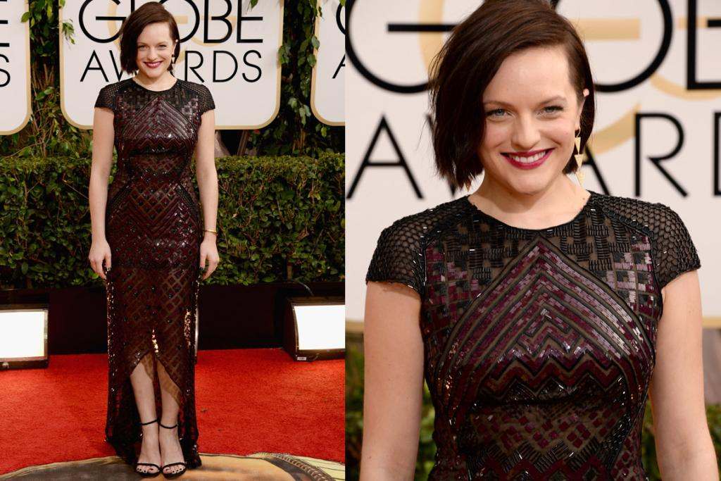 THE I-THINK-I-LIKE-IT: The more I look at this J Mendel armour-style dress on Elizabeth Moss (one of the celebrities I was most disappointed to find out was a Scientologist) the more I like it. I think it's one of those 'great-in-real-life-but-photographs-a-bit-crazy' jobs, but it suits her edgier personal style.