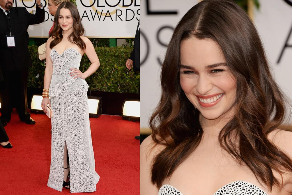 THE GOOD: I ALWAYS forget that the Khaleesi is actually a brunette: Emilia Clarke looks perfectly lovely in this Proenza Schouler gown. I love her glossy hair, dig those bangles and adore the subtle waves of material in the dress.