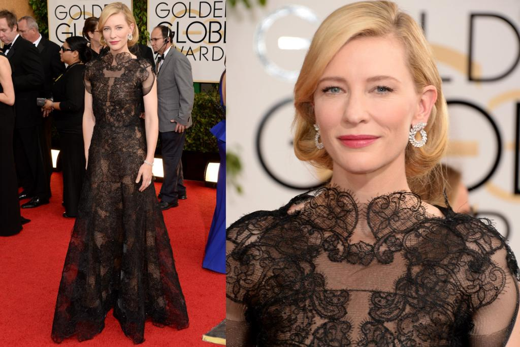 A BEST CONTENDER: Cate Blanchett + Armani Prive = red carpet gold. I'm almost cowering, she looks so fierce. Like a really super hot headmistress, schooling us all in how to work a gown.