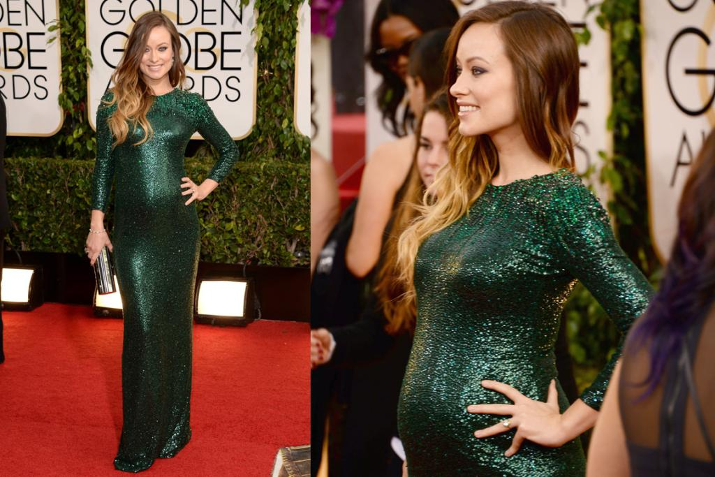 "THE BEST (MATERNITY EDITION): Olivia Wilde is due in just four months time and yet is still rocking slinky sequin Gucci. That's a pro. Love her ombre, dig the dress and love how she told Ryan Seacrest that she's stoked to be pregnant because: ""I've never had boobs before!""."