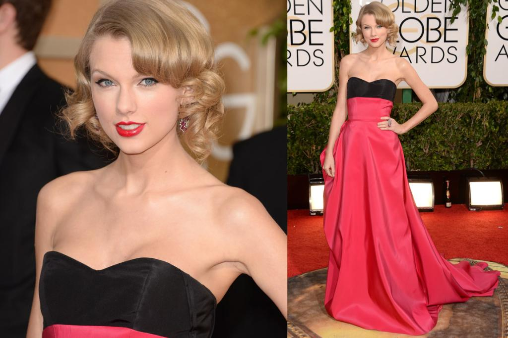 THE GOOD: This is not my type of dress at all, but it would be remiss to suggest Taylor Swift looks anything but beautiful in Carolina Herrera. I even like the red lip with the pink gown.
