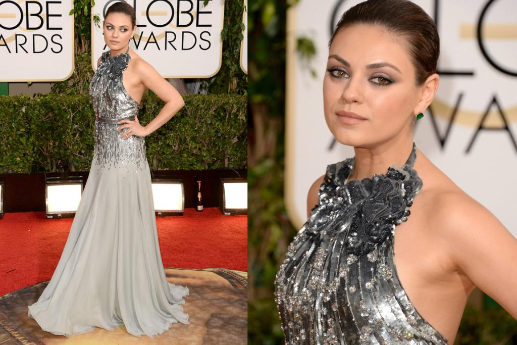 THE GOOD: Mila Kunis looks like she's about to smack somebody, but that doesn't stop the fact that this Gucci Premiere halter gown is next level hot.