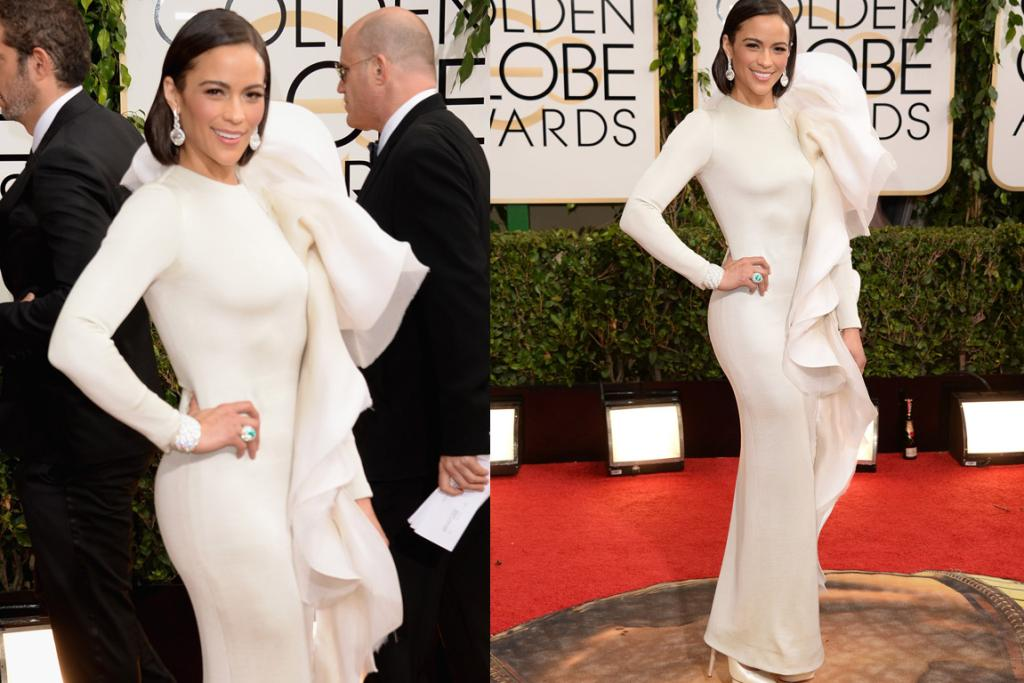 THE BAD: Paula Patton looks like she's in the middle of 'hulking out' of this Stephane Rolland dress (except she's a white Hulk, not a green one). This woman does not know how to dress herself, full stop.
