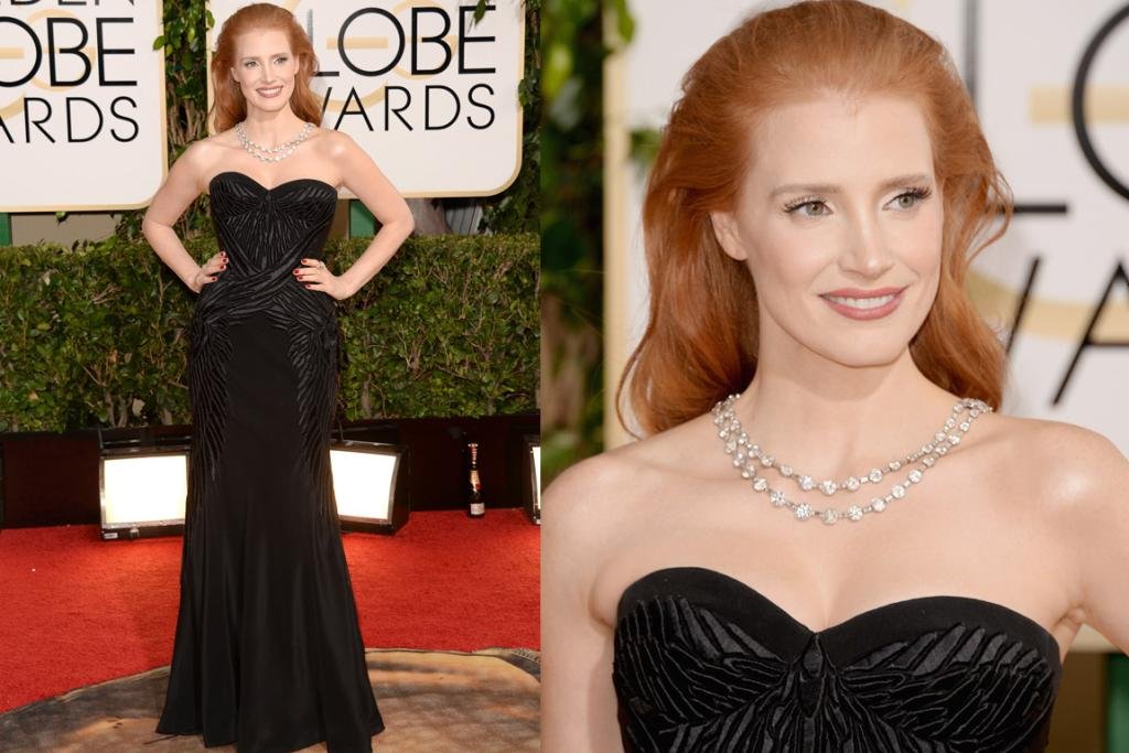 THE MEH: Can we deal with Jessica Chastain's hair first? She looks like an old balding man who's holding on to having a full mane and so backcombs to the extreme (but not successfully so that you can still see the bald patches poking through). Think Donald Trump. Also, this Givenchy dress is snoozeville ... and wonky.