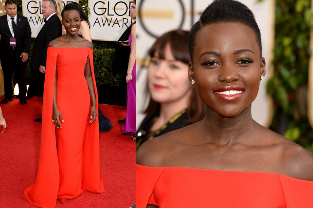 A BEST CONTENDER: When I heard that my new fashion idol was going to wear Ralph Lauren to the GGs I was a bit like, 'meh' but hot dang I was wrong. The 12 Years A Slave star works this caped gown way better than Gwyn did back in the day.