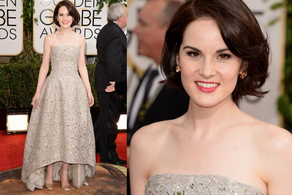 THE LOVELY: Michelle Dockery looks quite the lady in Oscar de la Renta - I'm also loving this softer hair on her too.