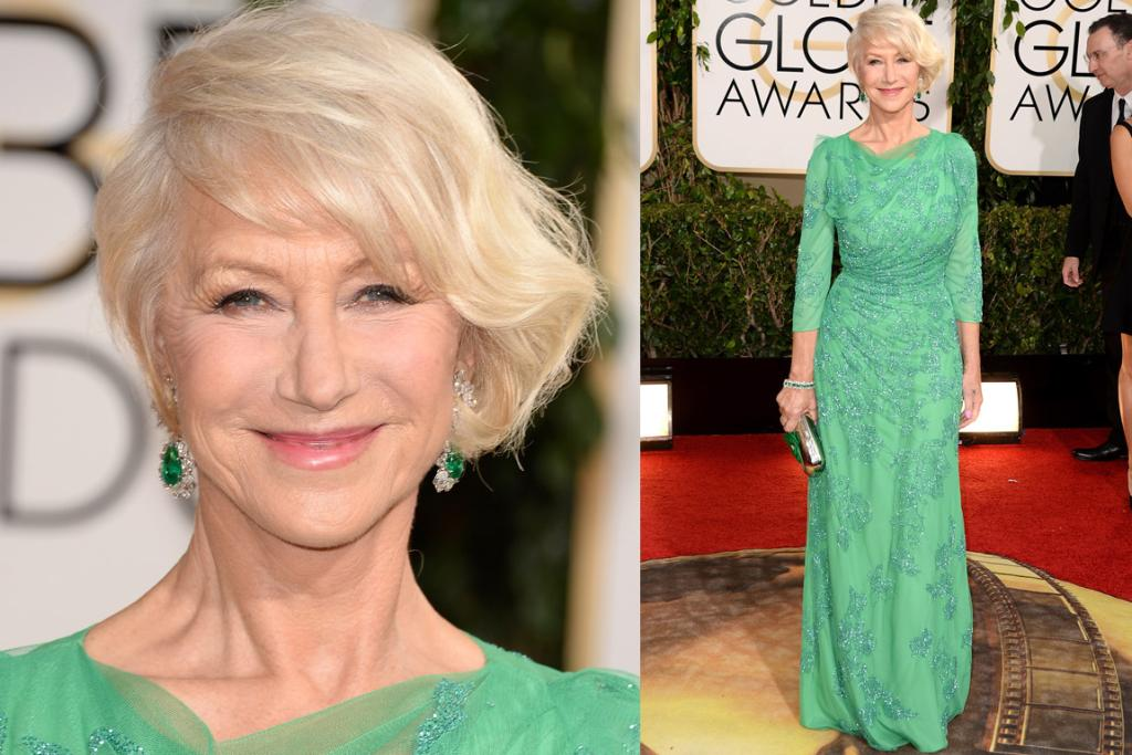 THE BEST CONTENDER: This is a huge call, but I think this Jenny Packham dress might be Helen Mirren's most wonderful yet. The colour combo is amazing, the draping artful and the cut so flattering.