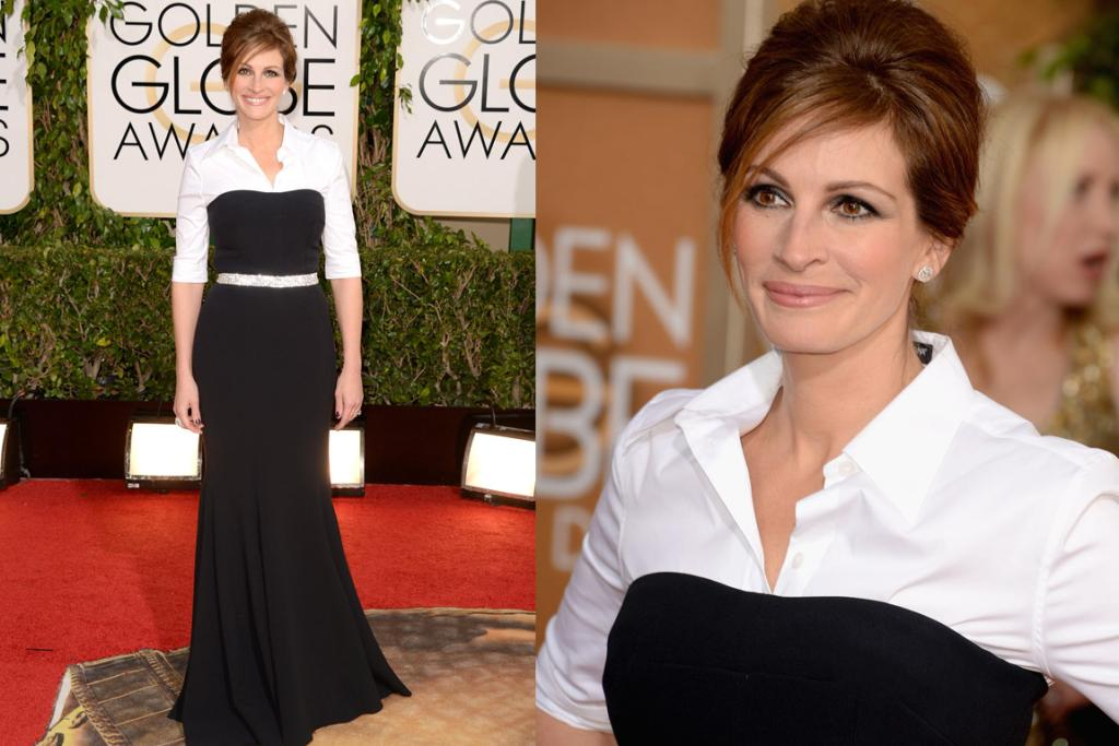 THE BAD: Is Julia Roberts now a Brethren? I remember when it was cool to wear a boob tube over a white shirt, but that was also a time during which The Spice Girls were top of the charts. This Dolce & Gabbana dress is a fail.