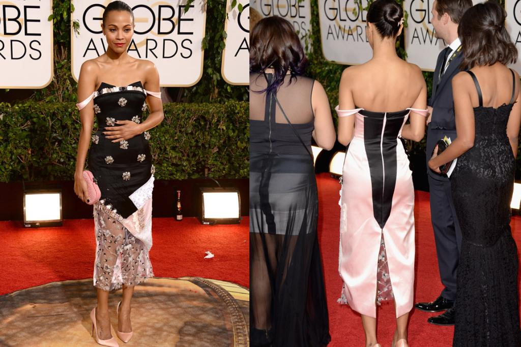 THE BAD: Is Zoe Saldana making herself feel ill with this Prabal Gurung dress? That would be understandable. This could be a lovely-in-real-life dress, but in photos it just looks like a piece of negligee hot mess.