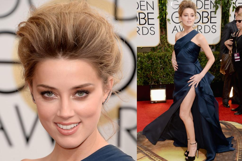 THE BAD: First things first, what's going on with Amber Heard's hair? That's pretty much what I look like in the morning if I forget to take my 'face washing bun' out. Also, this Versace gown is at once very 'actress-in-her-late-60s-looking-hot' and also very 'Jolie-leg-on-steroids'. (ooh, and PS: We've been discussing how Heard looks like a long lost member of the Ridge family. Thoughts?).