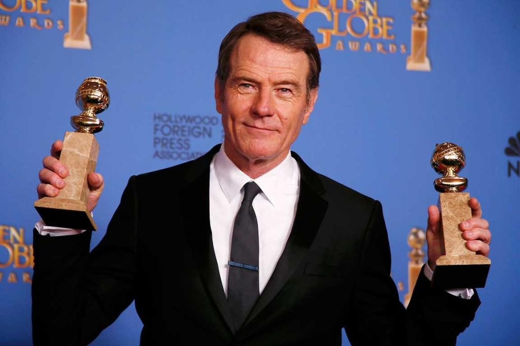 Bryan Cranston poses backstage after he won the award Best Actor in a TV Series, Drama and for Best TV Series, Drama for Breaking Bad.