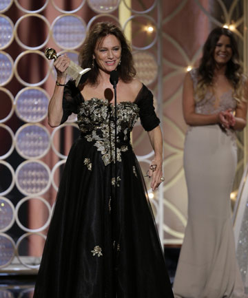 AWKWARD: Jacqueline Bisset accepts the Best Supporting Actress award.