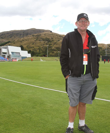 Queenstown Events Centre head groundsman Pete Domigan at the virtually empty Scotland v Hong Kong Cricket World Cup qualifier.