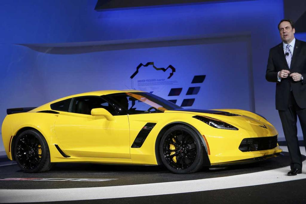 Mark Reuss, President of GM North America, speaks next to a newly unveiled Chevrolet Corvette Stingray ZO6 at the Detroit Auto Show.
