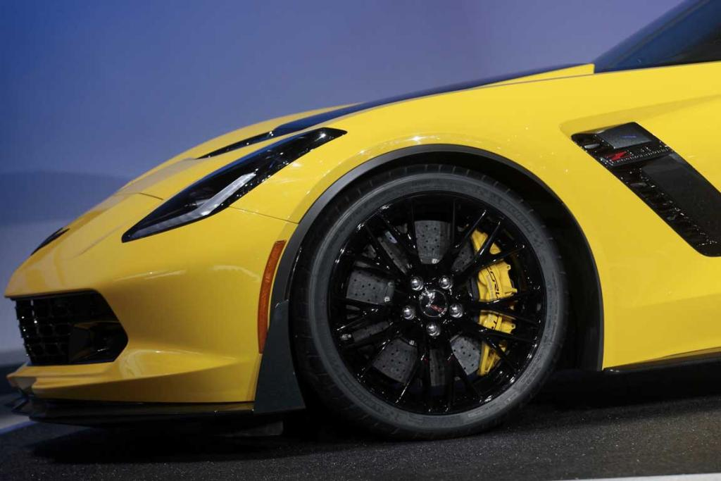 Front quarter detail view of the new Chevrolet Corvette Stingray ZO6 as it is unveiled at the Detroit Auto Show.