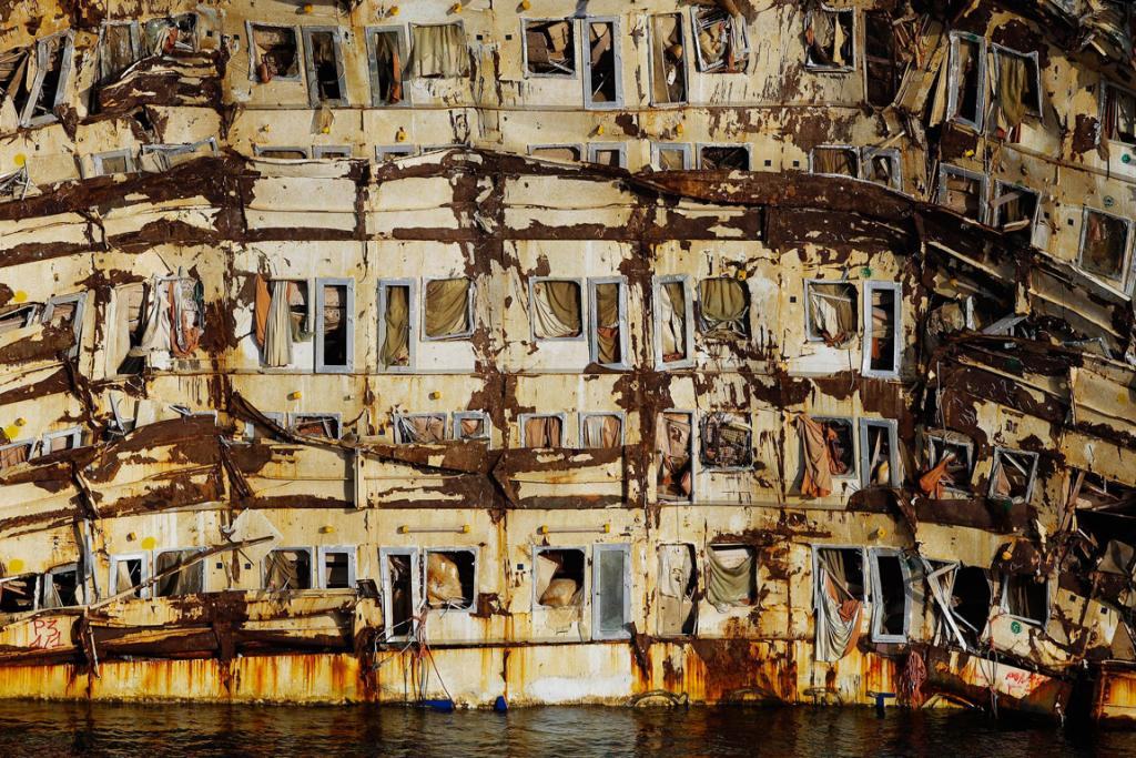 """The side of the cruise liner Costa Concordia is pictured during the """"parbuckling"""" operation."""