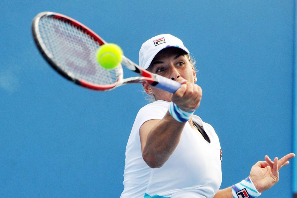 MARINA ERAKOVIC: hits a forehand during her first round match with Sorana Cirstea.