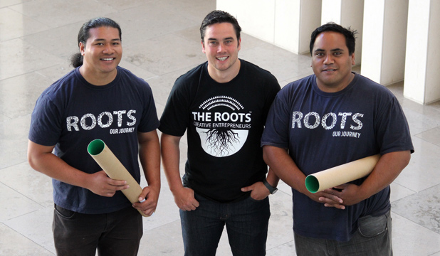 ROOT DOWN: Martin Leung-Wai, Martin Langdon and Petelo Esekielu from The Roots are installing a movable sculpture in Auckland Art Gallery made from more than 300 cardboard tubes.