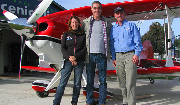 FLYING HIGH: Hobbit actor James Nesbitt at U-Fly Extreme in Motueka, with Alison D'Ath and pilot Vincent D'Ath.