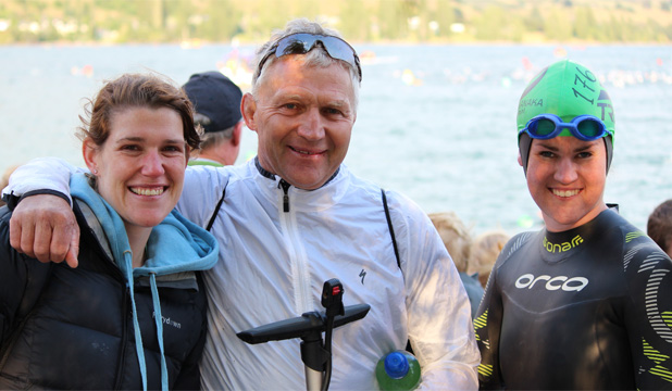 Thorns team members Maree Dawson, from Matamata, John Douglas, from Mossburn, and Anna White, of Ashburton, celebrate at the end of the Lake Wanaka Half triathlon last year.