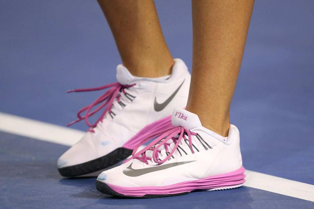 VICTORIA AZARENKA'S: personalised shoes during her match against Czech Barbora Zahlavova Strycova.