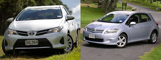NOW AND THEN: A 2013 Toyota Corolla (left) and a 2010 Toyota Corolla.
