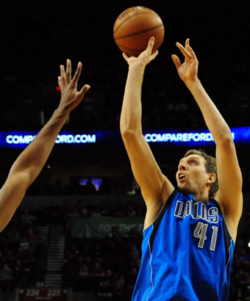 OUTSIDE GAME: One of Dirk Nowitzki's strengths is confusing opposing big men with quality play outside the key.