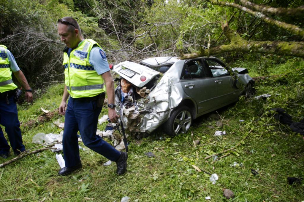 CRASH: The car at the bottom of a 20m ravine off Pohangina Valley Road.