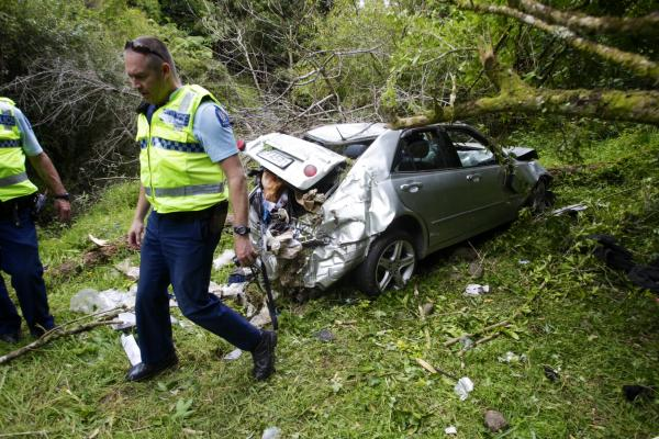 Car over cliff in Pohangina