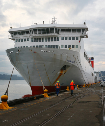 'TEETHING PROBLEMS': The ferry Stena Alegra, which is filling in for the Aratere after it lost its propeller on a sailing from Picton to Wellington in November.