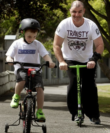 RECOVERING: Corey with son Bjorn, 6.
