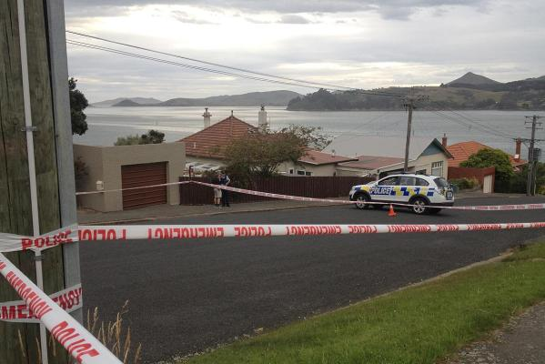 A police cordon set up on Kiwi St, Saint Leonards.