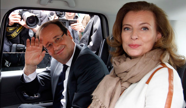 FIRST COUPLE: Francois Hollande and his companion Valerie Trierweiler.