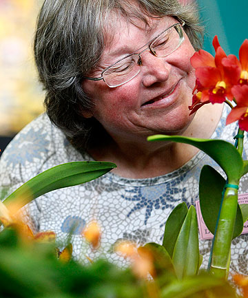 KNOWS HER STUFF: American orchid expert Jean Stefanik spoke at the Taranaki Orchid Society Summer Show held in the Highlands Intermediate hall.