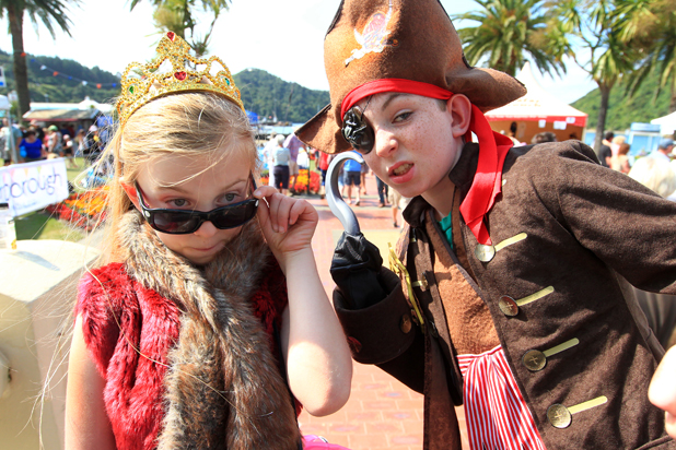 Heading off to the fancy dress competition is Ava Redmond 7 and her brother, Tyler Redmond 10