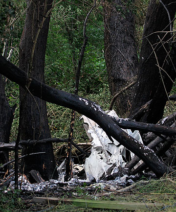 ROUTINE FLIGHT: The remains of a towplane that crashed and burst into flames near Springfield, Canterbury, killing the sole occupant, Christchurch pilot Martin Lowen, 55.