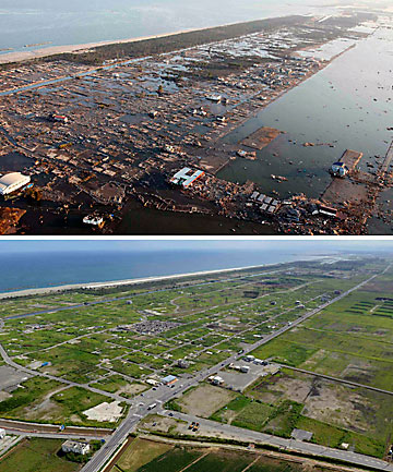 CLEARED AWAY: An area of tsunami-devasted Sendai is pictured in this combination photo taken on March 12, 2011 - the day after the earthquake and tsunami - and September 1, 2013.