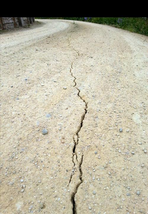"The Greig family said: ""This is one of the many cracks we found in the driveway near our front door. We live 15 minutes south west of Palmerston North""."