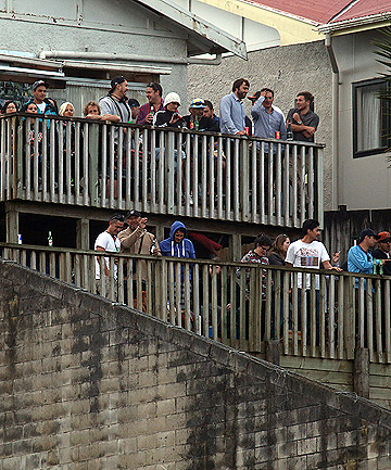GREAT VIEW: Fans enjoy the show from a neighbouring property.