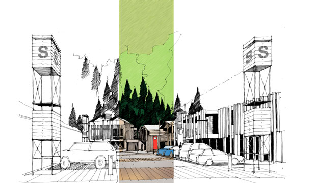 A concept sketch of a ''silo'' development in Gorge Rd, Queenstown.