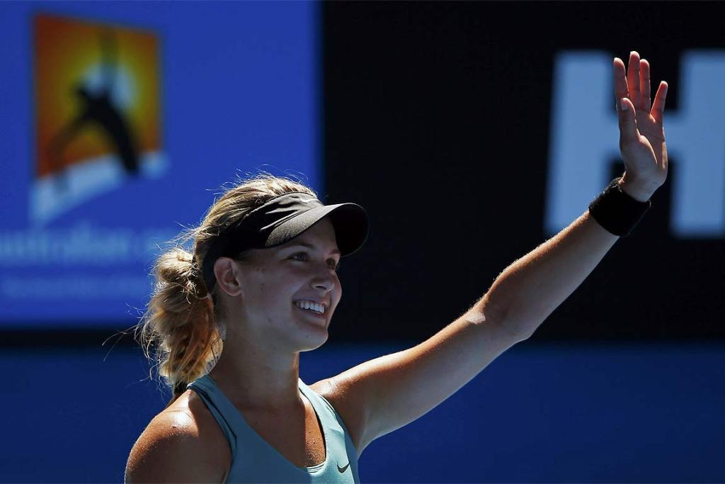 Eugenie Bouchard of Canada celebrates defeating Ana Ivanovic in the quarterfinals.