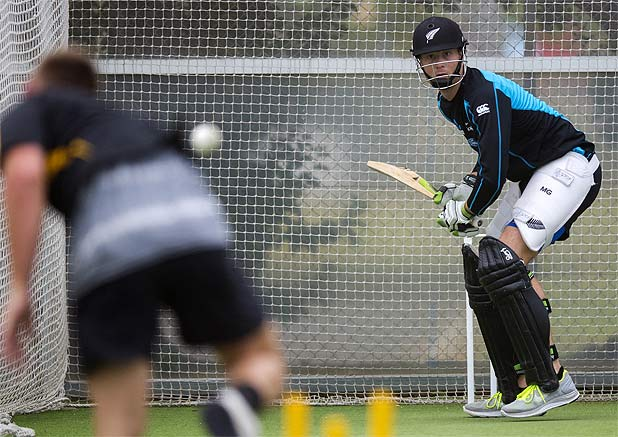 EYES HAVE IT: New Zealand batsman Martin Guptill gets some practice in the nets.