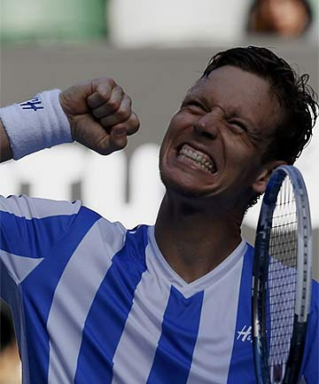 GOING ON: Tomas Berdych celebrates his win over David Ferrer.
