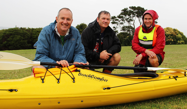 IMPORTANT JOURNEY: Te Atatu Labour MP Phil Twyford, left, is joined on the first day of his kayak tour by Forest & Bird volunteer Jeremy Painting, centre, and Auckland Council's Rob Mouldey.